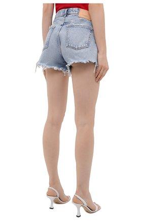 Женские джинсовые шорты MOUSSY голубого цвета, арт. 025ESC11-2670   Фото 4 (Женское Кросс-КТ: Шорты-одежда; Кросс-КТ: Деним; Длина Ж (юбки, платья, шорты): Мини; Стили: Гранж; Материал внешний: Хлопок)