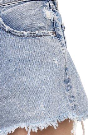 Женские джинсовые шорты MOUSSY голубого цвета, арт. 025ESC11-2670   Фото 5 (Женское Кросс-КТ: Шорты-одежда; Кросс-КТ: Деним; Длина Ж (юбки, платья, шорты): Мини; Стили: Гранж; Материал внешний: Хлопок)
