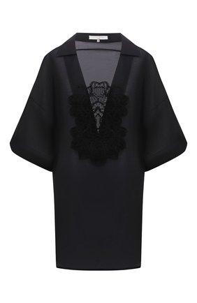 Женская туника из хлопка и шелка LILA EUGENIE черного цвета, арт. 2115 MINI | Фото 1