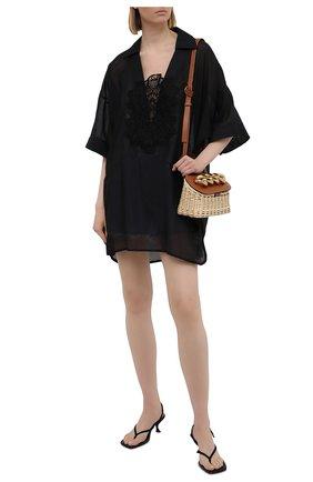 Женская туника из хлопка и шелка LILA EUGENIE черного цвета, арт. 2115 MINI | Фото 2