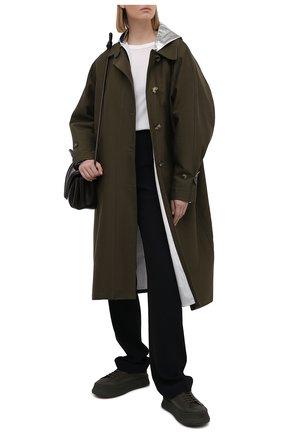 Женское пальто из хлопка и вискозы PACO RABANNE хаки цвета, арт. 21ECMA115C00222 | Фото 2