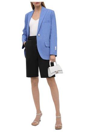 Женский жакет изо льна и вискозы OFF-WHITE голубого цвета, арт. 0WEF064S21FAB001 | Фото 2