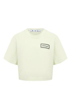 Женская хлопковая футболка OFF-WHITE светло-зеленого цвета, арт. 0WAA090S21JER004 | Фото 1