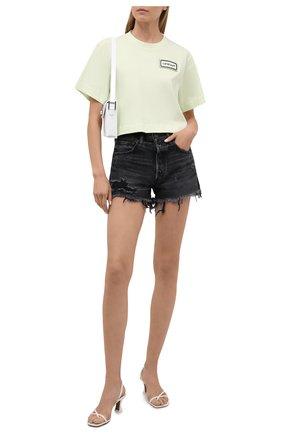 Женская хлопковая футболка OFF-WHITE светло-зеленого цвета, арт. 0WAA090S21JER004 | Фото 2