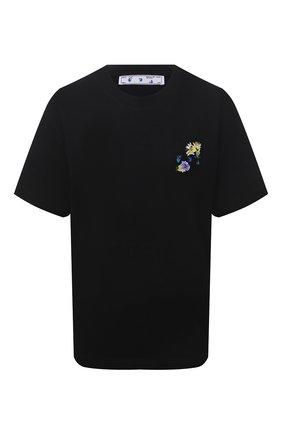 Женская хлопковая футболка OFF-WHITE черного цвета, арт. 0WAA089S21JER002 | Фото 1