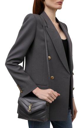 Женская сумка loulou mini SAINT LAURENT темно-серого цвета, арт. 630951/DV707   Фото 2