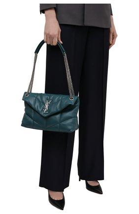 Женская сумка puffer loulou small SAINT LAURENT бирюзового цвета, арт. 577476/1EL06 | Фото 2