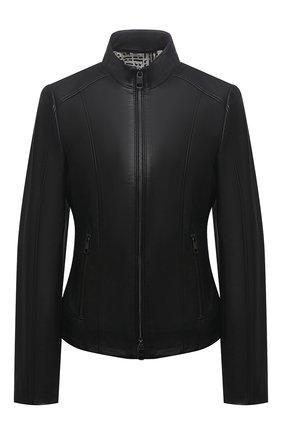 Женская кожаная куртка BOSS черного цвета, арт. 50453173 | Фото 1