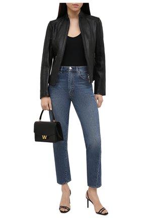 Женская кожаная куртка BOSS черного цвета, арт. 50453173 | Фото 2