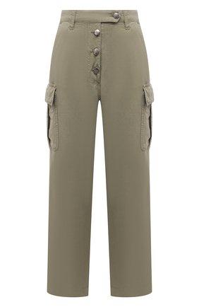 Женские хлопковые брюки TWO WOMEN IN THE WORLD хаки цвета, арт. A12CT3  Alva | Фото 1