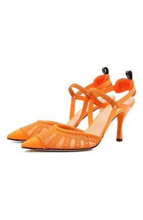 Женские текстильные туфли FENDI оранжевого цвета, арт. 8J8103 AEH4   Фото 1