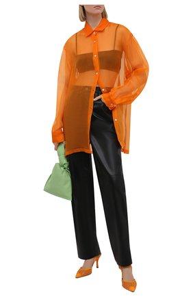 Женские текстильные туфли FENDI оранжевого цвета, арт. 8J8103 AEH4   Фото 2