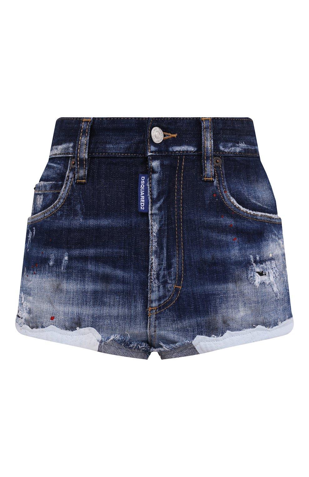 Женские джинсовые шорты DSQUARED2 синего цвета, арт. S75MU0384/S30342 | Фото 1 (Женское Кросс-КТ: Шорты-одежда; Кросс-КТ: Деним; Длина Ж (юбки, платья, шорты): Мини; Стили: Гранж; Материал внешний: Хлопок)