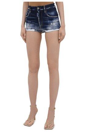 Женские джинсовые шорты DSQUARED2 синего цвета, арт. S75MU0384/S30342 | Фото 3 (Женское Кросс-КТ: Шорты-одежда; Кросс-КТ: Деним; Длина Ж (юбки, платья, шорты): Мини; Стили: Гранж; Материал внешний: Хлопок)