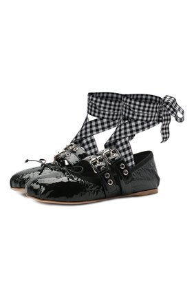 Женские кожаные балетки MIU MIU черного цвета, арт. 5F466A/H27   Фото 1