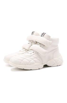 Женские кожаные кроссовки MIU MIU белого цвета, арт. 5T439D/038   Фото 1