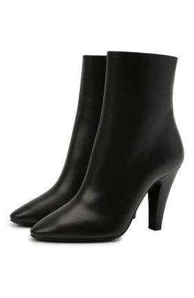 Женские кожаные ботильоны 68 SAINT LAURENT черного цвета, арт. 658151/2W700 | Фото 1 (Каблук тип: Устойчивый; Материал внутренний: Натуральная кожа; Каблук высота: Высокий; Подошва: Плоская)