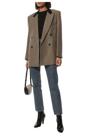 Женские кожаные ботильоны 68 SAINT LAURENT черного цвета, арт. 658151/2W700 | Фото 2 (Каблук тип: Устойчивый; Материал внутренний: Натуральная кожа; Каблук высота: Высокий; Подошва: Плоская)