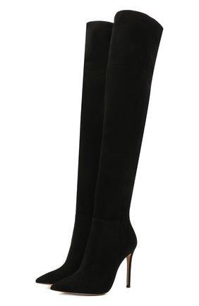 Женские замшевые ботфорты bea cuissard GIANVITO ROSSI черного цвета, арт. G80698.15RIC.C45NER0 | Фото 1