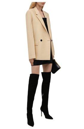 Женские замшевые ботфорты bea cuissard GIANVITO ROSSI черного цвета, арт. G80698.15RIC.C45NER0   Фото 2 (Материал внутренний: Натуральная кожа; Подошва: Плоская; Высота голенища: Высокие; Материал внешний: Замша; Каблук высота: Высокий; Каблук тип: Шпилька)