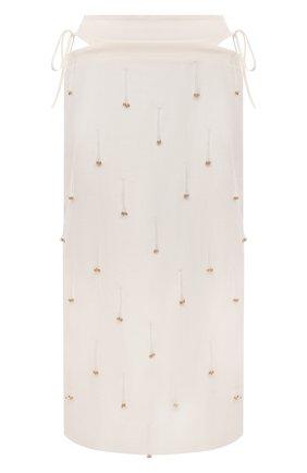Женская льняная юбка JACQUEMUS кремвого цвета, арт. 211SK01/12711A   Фото 1