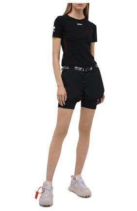 Женские шорты OFF-WHITE черного цвета, арт. 0WVH018V21FAB001 | Фото 2 (Женское Кросс-КТ: Шорты-одежда, Шорты-спорт; Материал подклада: Синтетический материал; Длина Ж (юбки, платья, шорты): Мини; Материал внешний: Синтетический материал; Стили: Спорт-шик)