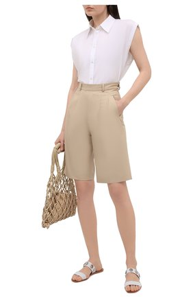 Женские кожаные шлепанцы bitcorn CHRISTIAN LOUBOUTIN белого цвета, арт. 1210707/BITC0RN FLAT | Фото 2