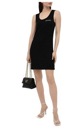 Женское хлопковое платье PALM ANGELS черного цвета, арт. PWDB108S21FAB0011001 | Фото 2