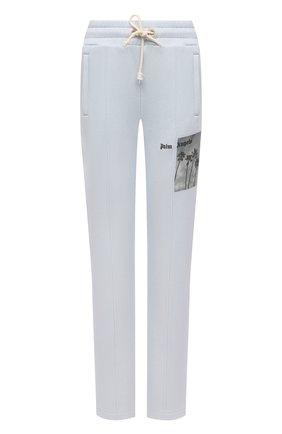 Женские хлопковые брюки PALM ANGELS голубого цвета, арт. PWCA045S21FLE0034410 | Фото 1