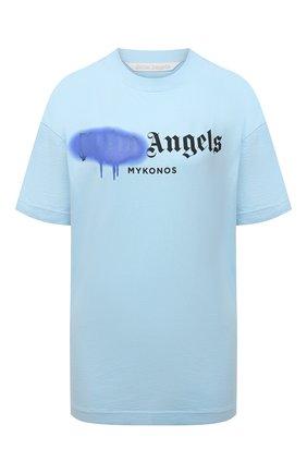 Женская хлопковая футболка PALM ANGELS голубого цвета, арт. PWAA039S21JER0084036 | Фото 1