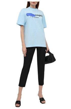 Женская хлопковая футболка PALM ANGELS голубого цвета, арт. PWAA039S21JER0084036 | Фото 2