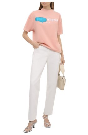 Женская хлопковая футболка PALM ANGELS розового цвета, арт. PWAA039S21JER0073340   Фото 2