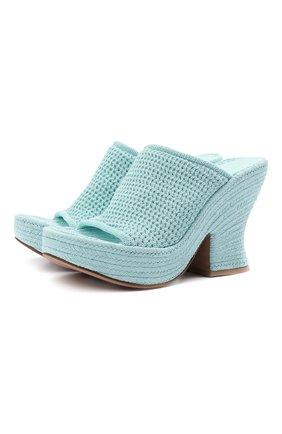 Женские текстильные мюли wedge BOTTEGA VENETA голубого цвета, арт. 658980/V0U80 | Фото 1