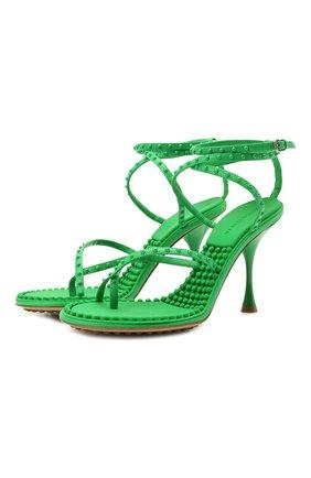 Женские кожаные босоножки dot BOTTEGA VENETA зеленого цвета, арт. 659007/V0U50 | Фото 1
