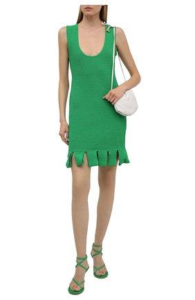 Женские кожаные босоножки dot BOTTEGA VENETA зеленого цвета, арт. 659007/V0U50 | Фото 2