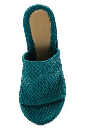 Женские кожаные мюли BOTTEGA VENETA бирюзового цвета, арт. 660586/V0VB0   Фото 5