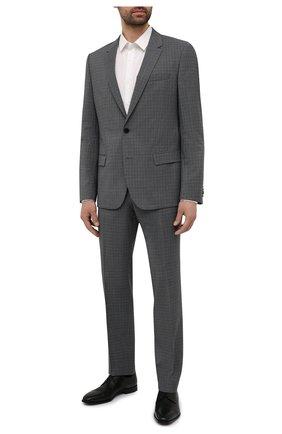 Мужской шерстяной костюм HUGO серого цвета, арт. 50454308   Фото 1 (Рукава: Длинные; Костюмы М: Однобортный; Материал внешний: Шерсть; Стили: Классический)