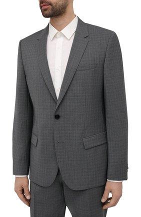 Мужской шерстяной костюм HUGO серого цвета, арт. 50454308   Фото 2 (Рукава: Длинные; Костюмы М: Однобортный; Материал внешний: Шерсть; Стили: Классический)