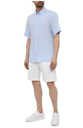 Мужская льняная рубашка BOGNER голубого цвета, арт. 58852973   Фото 2 (Принт: Однотонные; Материал внешний: Лен; Рукава: Короткие; Стили: Кэжуэл; Случай: Повседневный; Воротник: Button down; Длина (для топов): Стандартные)