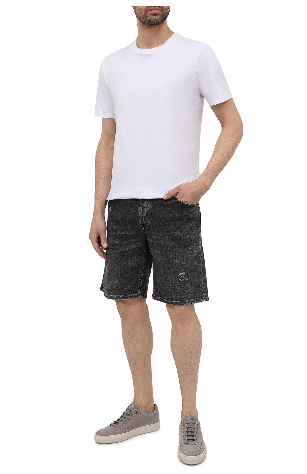 Мужские кожаные кеды BOSS светло-серого цвета, арт. 50454283   Фото 2