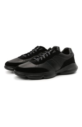 Мужские кожаные кроссовки BOSS черного цвета, арт. 50454970 | Фото 1