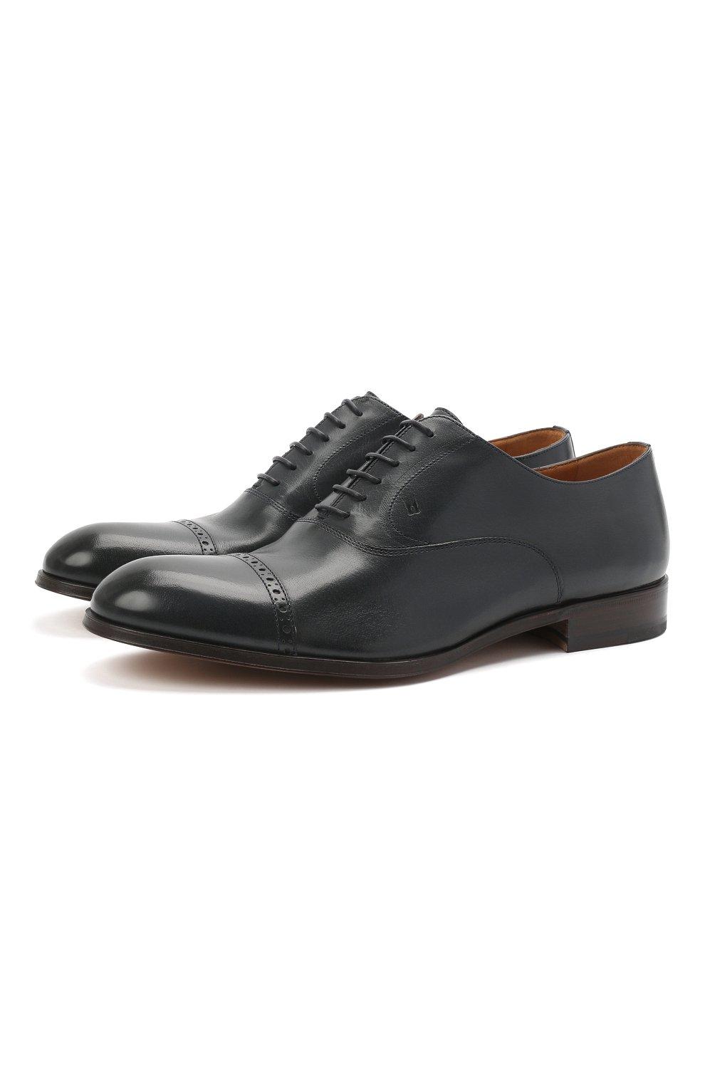 Мужские кожаные оксфорды MORESCHI темно-синего цвета, арт. 228881/177/BUFAL0/MZ.NAPPA   Фото 1 (Мужское Кросс-КТ: Броги-обувь; Материал внутренний: Натуральная кожа; Стили: Классический)
