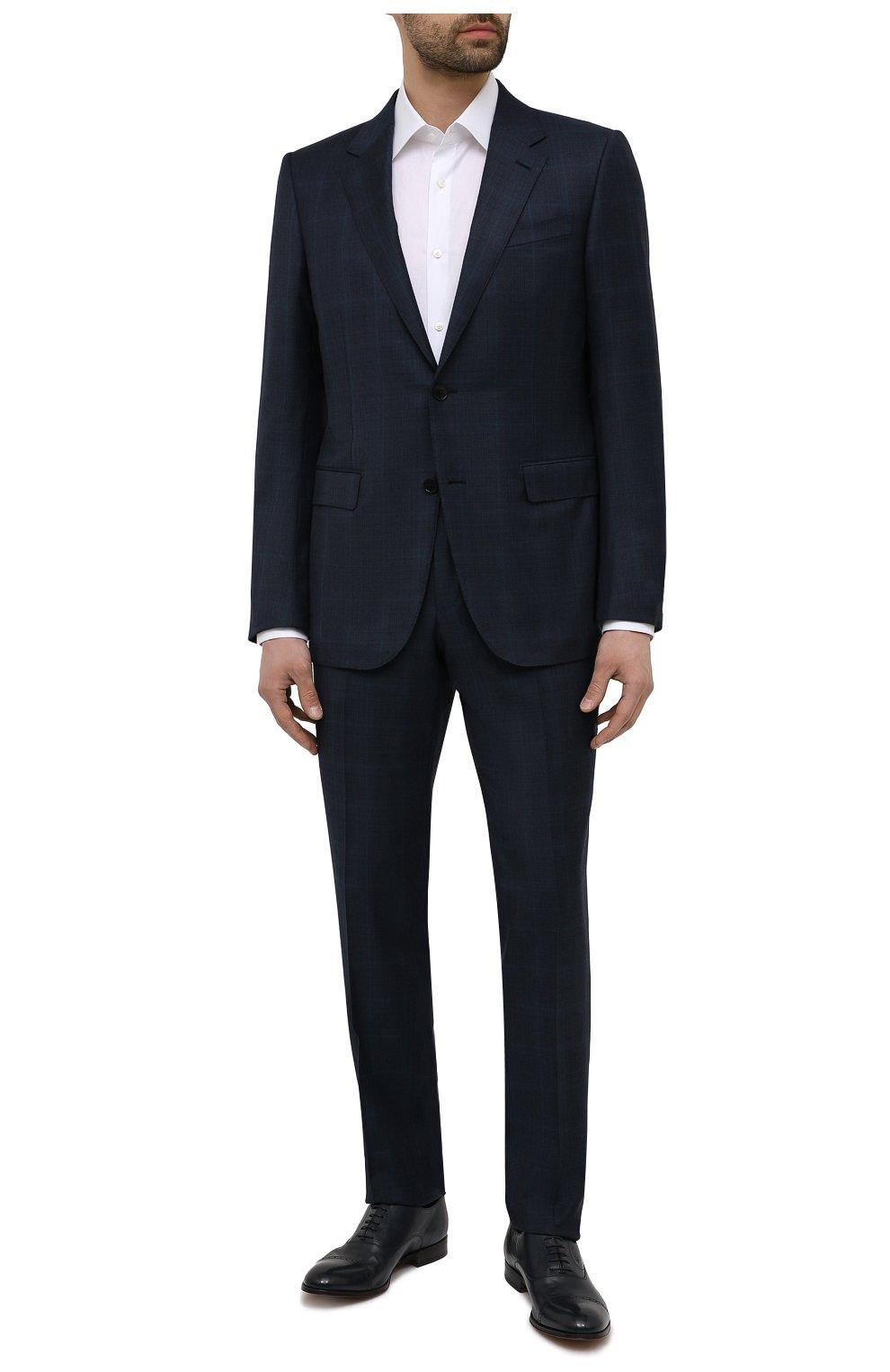 Мужские кожаные оксфорды MORESCHI темно-синего цвета, арт. 228881/177/BUFAL0/MZ.NAPPA   Фото 2 (Мужское Кросс-КТ: Броги-обувь; Материал внутренний: Натуральная кожа; Стили: Классический)