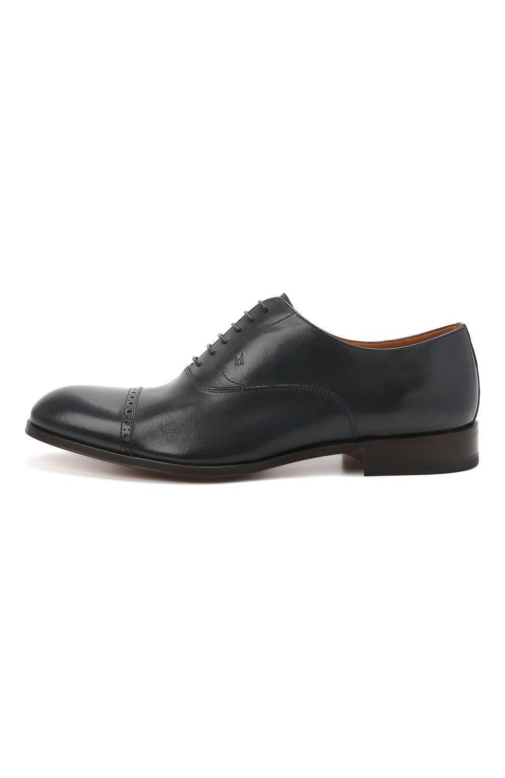 Мужские кожаные оксфорды MORESCHI темно-синего цвета, арт. 228881/177/BUFAL0/MZ.NAPPA   Фото 3 (Мужское Кросс-КТ: Броги-обувь; Материал внутренний: Натуральная кожа; Стили: Классический)