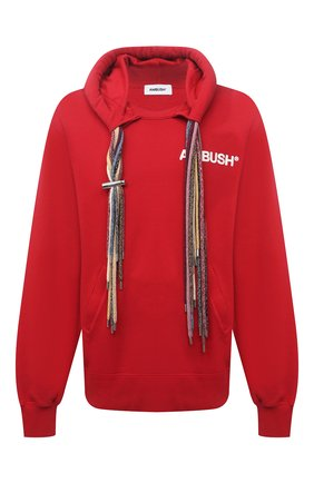 Мужской хлопковое худи AMBUSH красного цвета, арт. BMBB003S21FLE001 | Фото 1