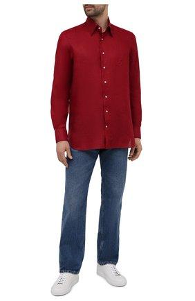 Мужская льняная рубашка ZILLI красного цвета, арт. MFV-17092-1525/ZS3175   Фото 2 (Манжеты: На пуговицах; Воротник: Кент; Случай: Повседневный; Рукава: Длинные; Рубашки М: Regular Fit; Принт: Однотонные; Длина (для топов): Стандартные; Материал внешний: Лен; Стили: Кэжуэл)