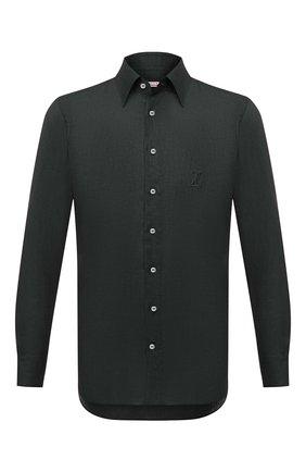 Мужская льняная рубашка ZILLI темно-зеленого цвета, арт. MFV-17092-1525/ZS5726   Фото 1 (Стили: Кэжуэл; Воротник: Кент; Случай: Повседневный; Рубашки М: Regular Fit; Манжеты: На пуговицах; Материал внешний: Лен; Длина (для топов): Стандартные; Принт: Однотонные; Рукава: Длинные)
