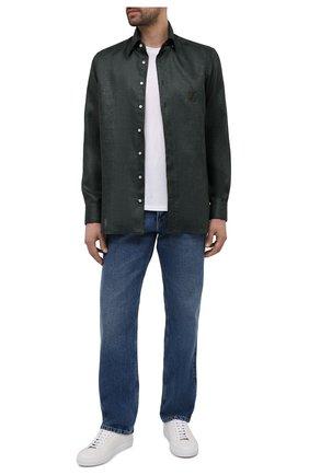 Мужская льняная рубашка ZILLI темно-зеленого цвета, арт. MFV-17092-1525/ZS5726   Фото 2 (Стили: Кэжуэл; Воротник: Кент; Случай: Повседневный; Рубашки М: Regular Fit; Манжеты: На пуговицах; Материал внешний: Лен; Длина (для топов): Стандартные; Принт: Однотонные; Рукава: Длинные)