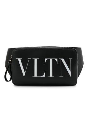 Мужская кожаная поясная сумка VALENTINO черного цвета, арт. WY2B0719/WJW   Фото 1