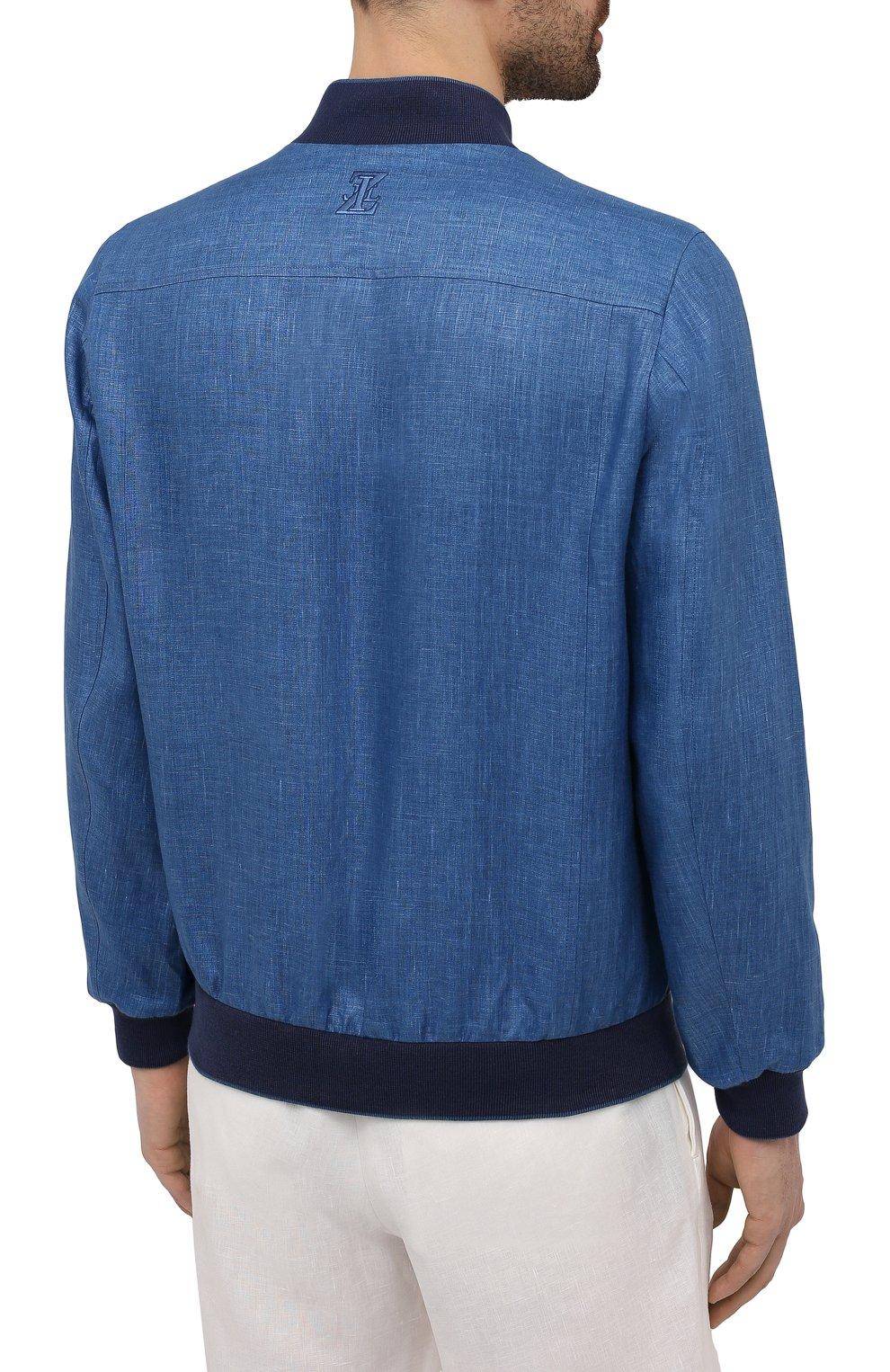 Мужской льняной бомбер ZILLI синего цвета, арт. MFV-17093-6018/0012   Фото 4